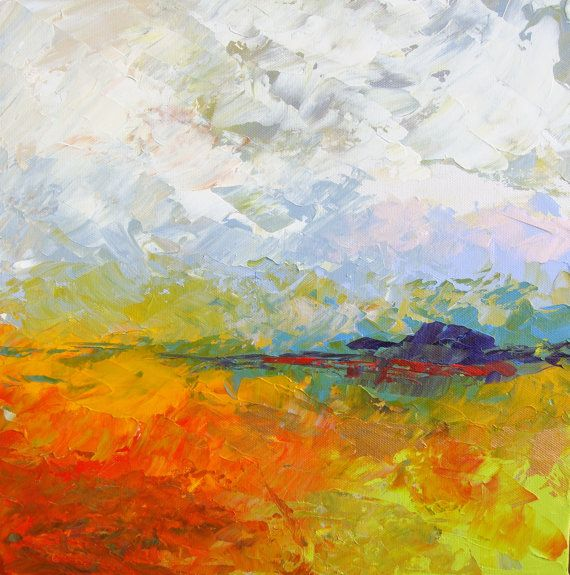 Abstract landscape acrylic painting on canvas size for Abstract painting in acrylic