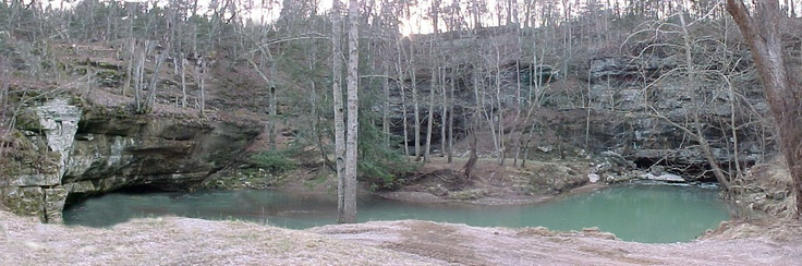 The locals call it short creek. This is the only place the creek appears above ground. This is just outside of London, Kentucky and is so cool to see in person! The water is always freezing!