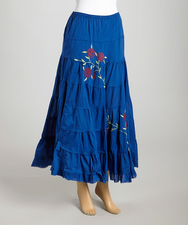 cobalt blue embroidered maxi skirt