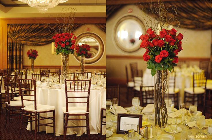 Red rose branch centerpiece red wedding pinterest for Red rose wedding table decorations
