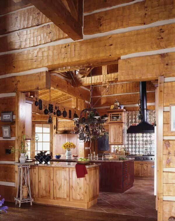 Beautiful Log Kitchen Design Houses Outdoors
