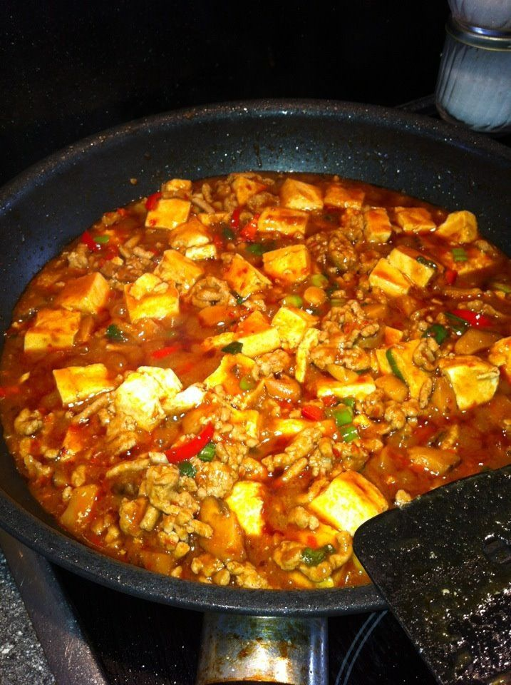 Chinese Ma Po Tofu dish, minced pork, chilies, mushrooms and peppers