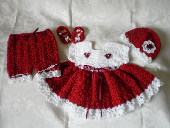 Christmas rose crocheted newborn dress set by emjcreations on etsy