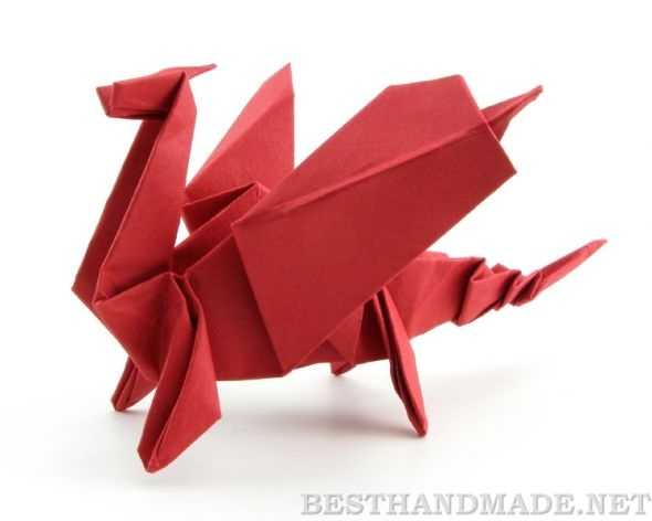 instructions to make origami dragon