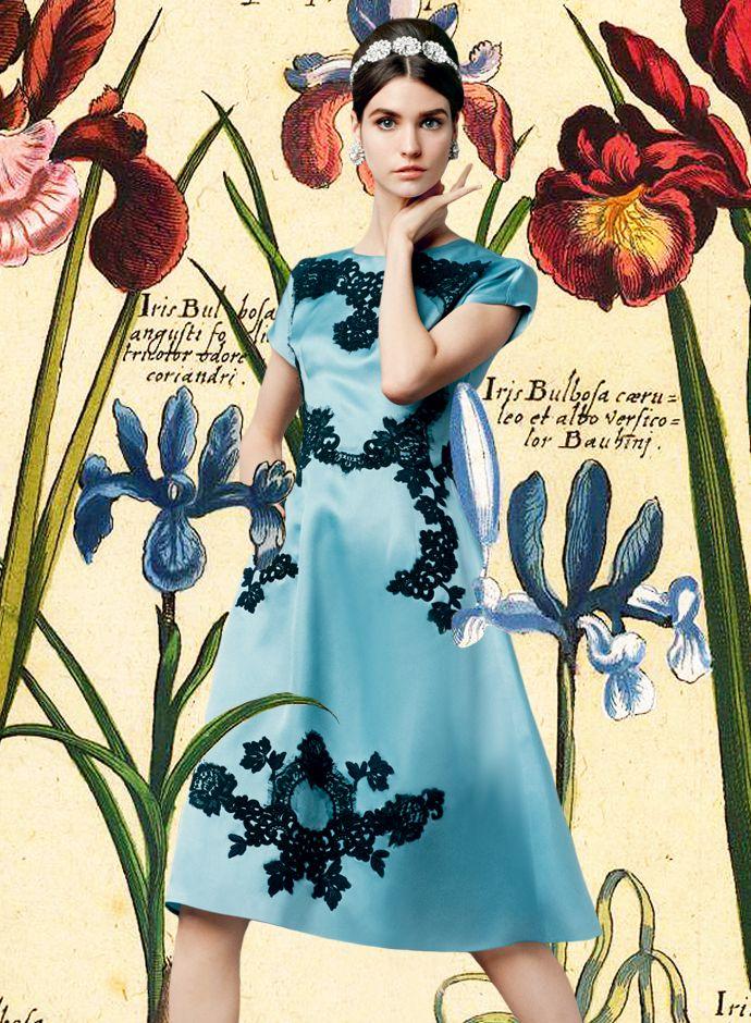 Посмотрите Дня Dolce & Gabbana весна-лето 2014 Женская Кружева Применение шелковое платье