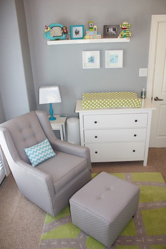 Modern Glider in Yellow, Gray and Aqua Nursery - #projectnursery #glider