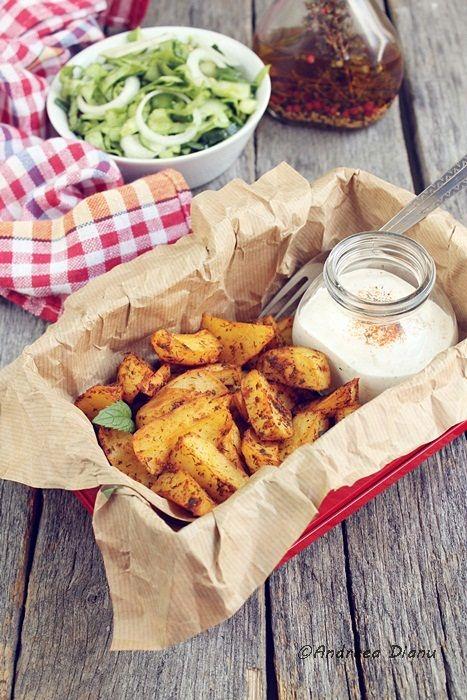 Potato Wedges & Joghurt Dill Sauce | Favorite Recipes | Pinterest