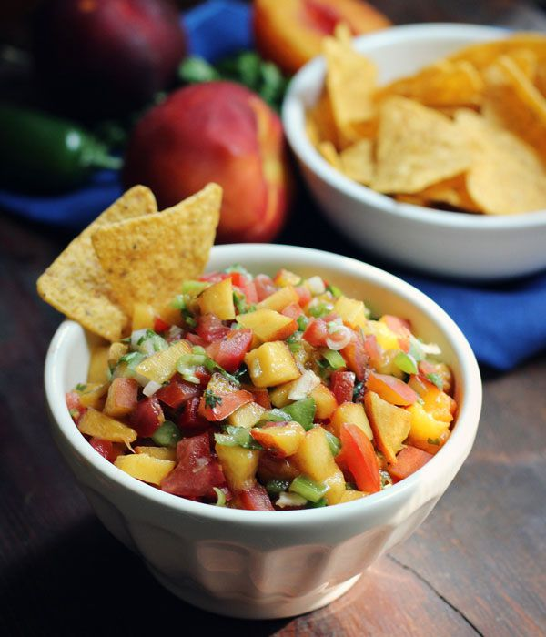 Grilled Peach Salsa - Cooking Club - Scout I bet this would be really ...