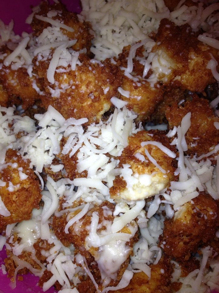 Cut chicken in bite size pieces, coat with egg and panko. Fry. As ...