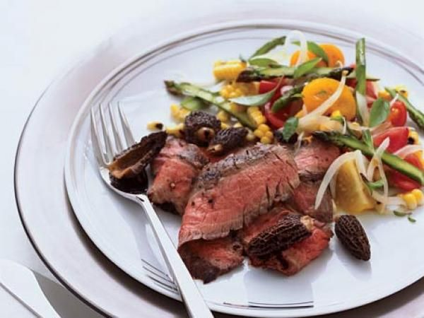 Grilled Flank Steak with Corn, Tomato and Asparagus Salad Recipe ...