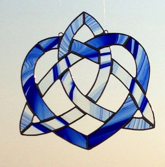 Celtic Knot Heart Triquetra in Stained Glass