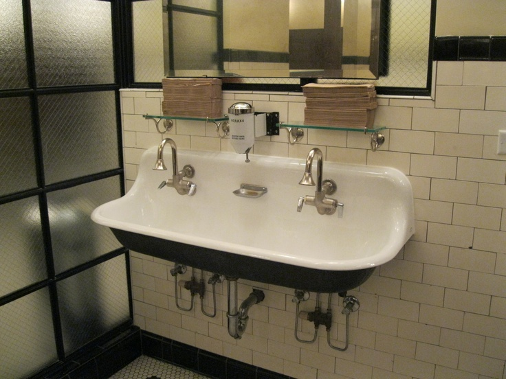 Fabulous double bathroom sink-- Quartino Wine Bar Downtown Chicago