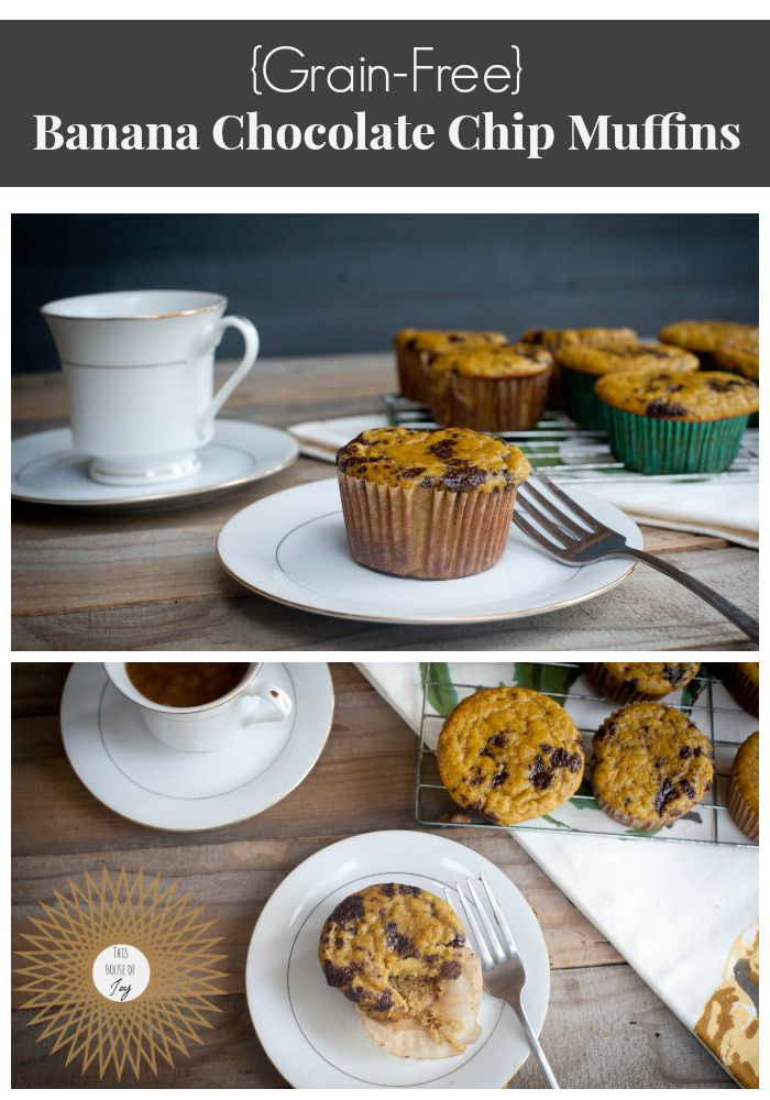 Grain-Free Banana Chocolate Chip Muffins (high protein with eggs and ...