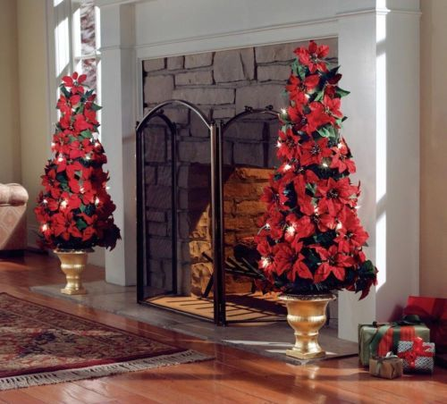 Lighted indoor poinsettia holiday christmas tree for Christmas decorations indoor