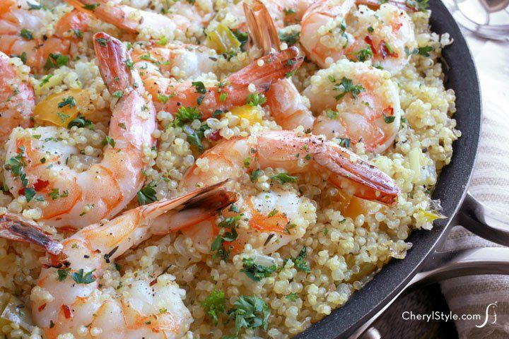 This garlic butter shrimp and quinoa recipe is a tasty one-pot wonder ...