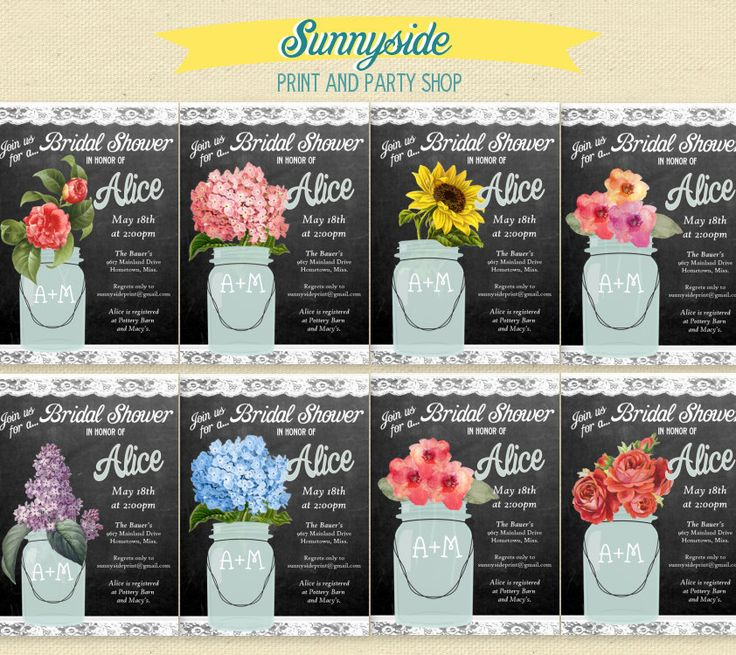Chalkboard Floral Mason Jar - Bridal Shower Invitation - 10 flower ...