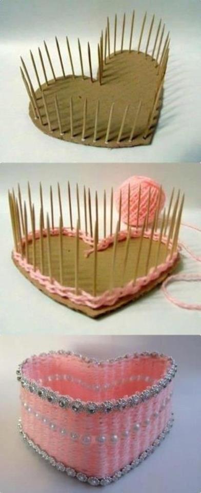 Cardboard toothpicks and yarn crafts pinterest