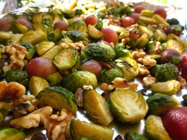 Roasted Brussels Sprouts With Grapes and Walnuts | Recipe