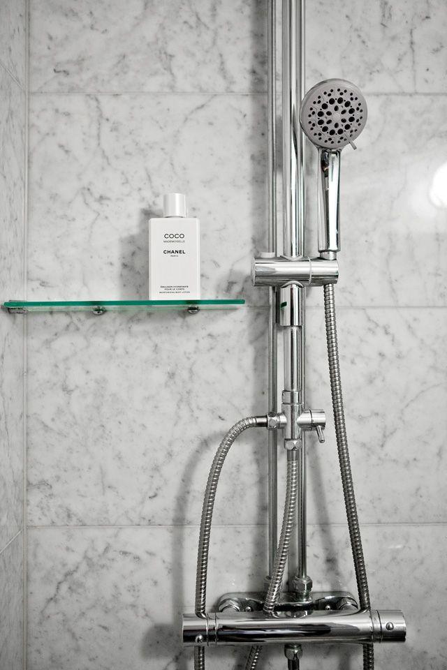 Glass shower shelf interior designs pinterest - Glass shower head ...