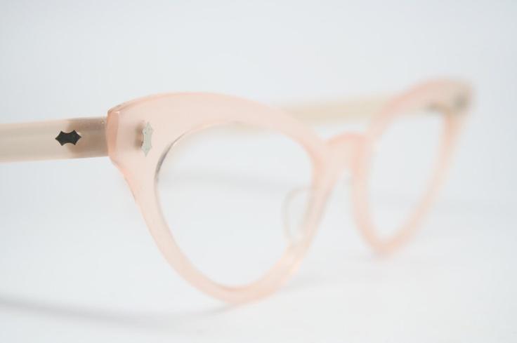 Light Pink cat eye glasses rhinestone cateye frames. $125.00, via Etsy