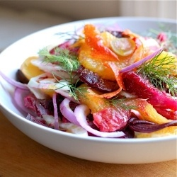 yum! Fennel, beets, and blood orange salad! how beautiful and yummy!