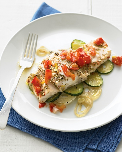 Emeril's Fish Provencal Recipe -- wrap vegetables, fish, and ...