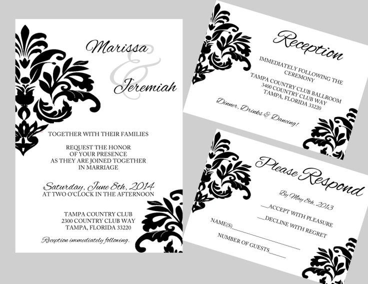 DIY Wedding Invitation Template - Instant Download - Classic Damask