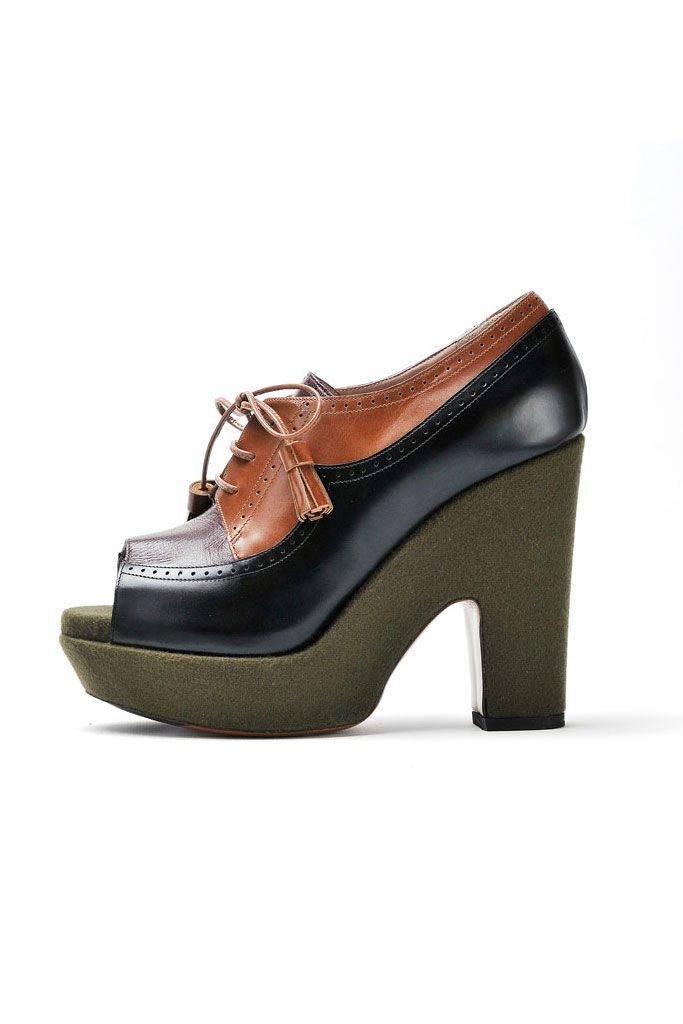 fall 2012, Rochas, shoes, high heels, platforms, green, brown, black