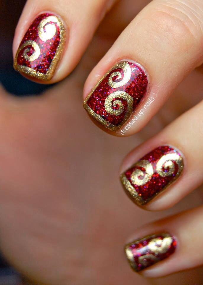 Red And Gold Nail Designs Tumblr red glitter and gold d...