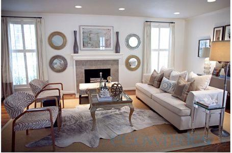 Grey cowhide rug on sale ecowhides living room pinterest for Cowhide rug in living room