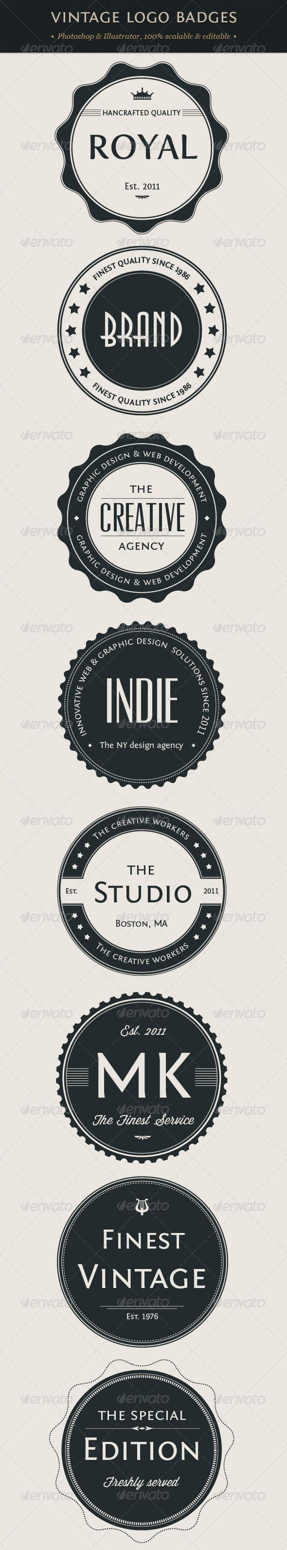 Vintage Logo Badges Set - so many cool things you can do with these.