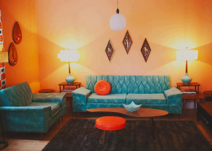 Orange and turquoise retro living room a retro for Living room ideas retro