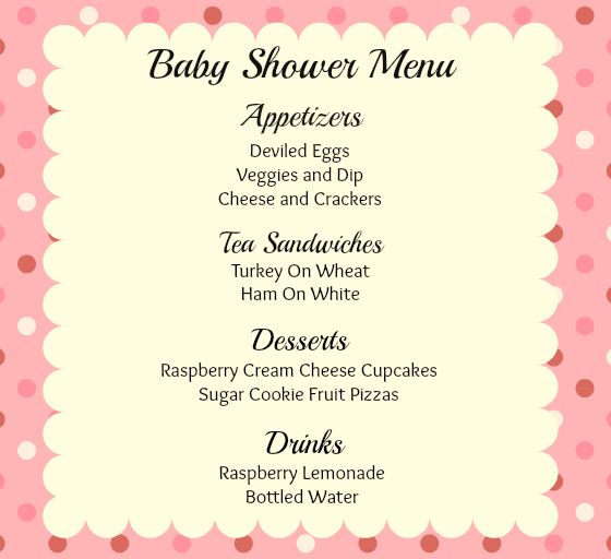 pink baby shower menu baby shower pinterest