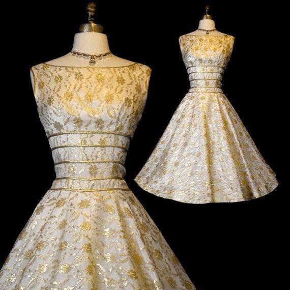 Vintage Wedding Dresses Gold : Vintage s wedding dress xs gold illusion by labellevintage