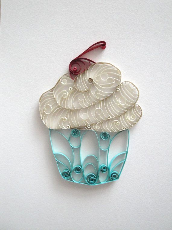 Quilled paper cupcake home decor white and blue cupcake for Cupcake home decorations