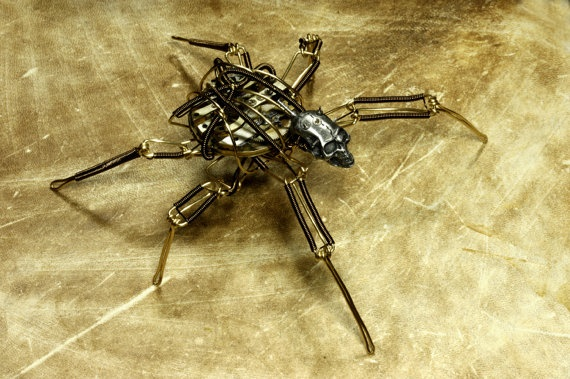 Steampunk Skull Insect Robot Sculpture by Daniel Proulx of CatherinetteRings. WOW!!!