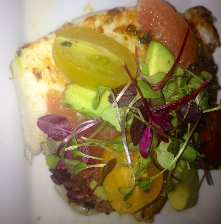 Olive oil poached halibut w/ grapefruit, avocado relish garlic infused ...