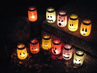 Halloween Painted Jar Luminaries - Crafts by Amanda