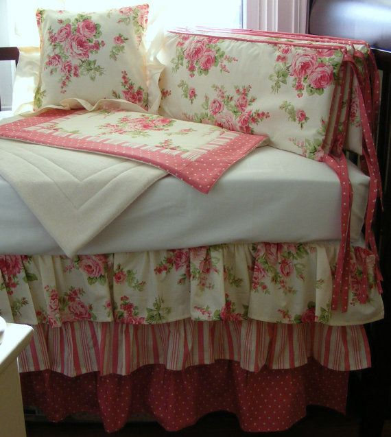 Shabby Chic Pink Baby Bedding 4 pieces with Bumper Crib Three Tiered ...