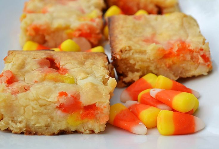 Candy corn macadamia nut blondies totally in contention for october