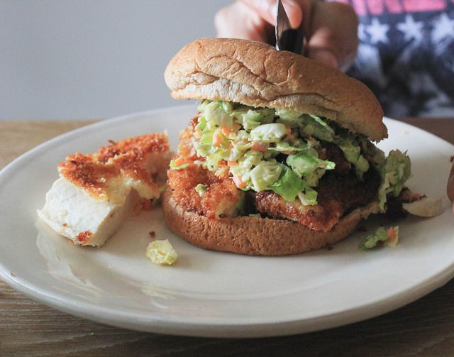 Crispy Chicken Burgers w/ Hot Mustard Brussels Sprout Slaw by Erika ...
