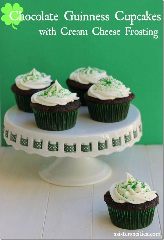 Chocolate Guinness Cupcakes filled with ganache and topped with Cream ...
