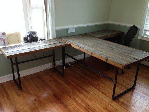 Reclaimed silo wood desks with industrial pipe fitting base for Industrial pipe desk