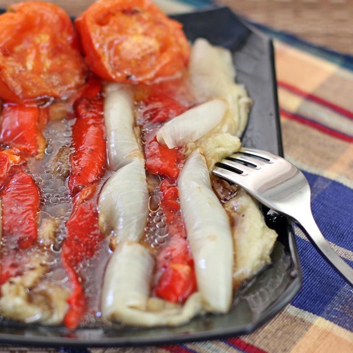 Spanish Style Grilled Vegetable Salad in Olive oil and Malt Vinegar