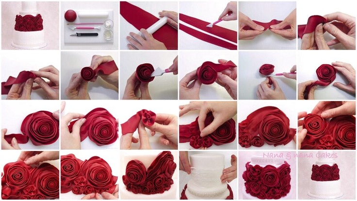 Step by step how to make fondant roses. Cakes Pinterest