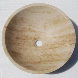 Travertine Vessel Sink Bowls : Silkroad Exclusive Travertine Stone Vessel Sink Bowl Lavatory Basin. $ ...