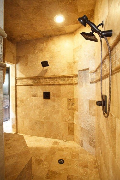 Tiled Shower Body Jets Bathrooms Pinterest