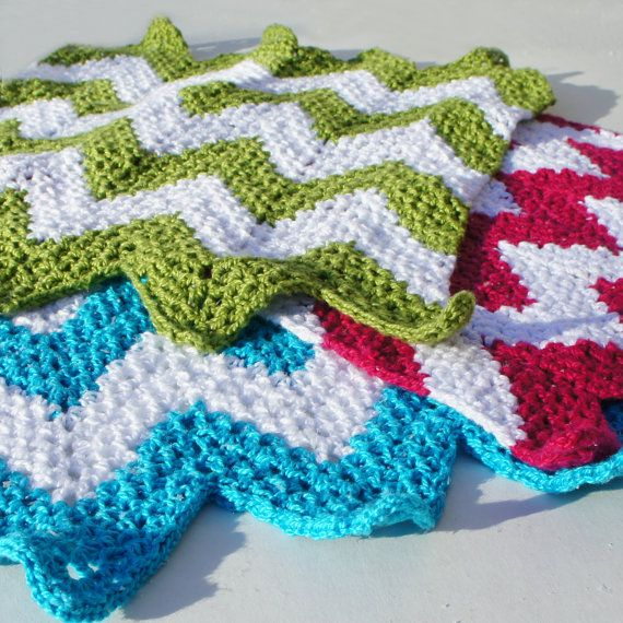 Crochet Patterns Chevron : Chevron Dishcloths - Crochet Pattern (PDF) - INSTANT DOWNLOAD