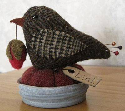 PRIMITIVE TWEED WOOL BIRD MAKE DO PIN CUSHION ZINC CANNING JAR LID DOLL  - by Primpenny on eBay (www.primpenny.com)