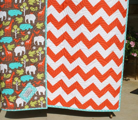 Chevron Baby Quilt Orange Safari Animals Elephants Giraffe Zoology Gender Neutral via Etsy